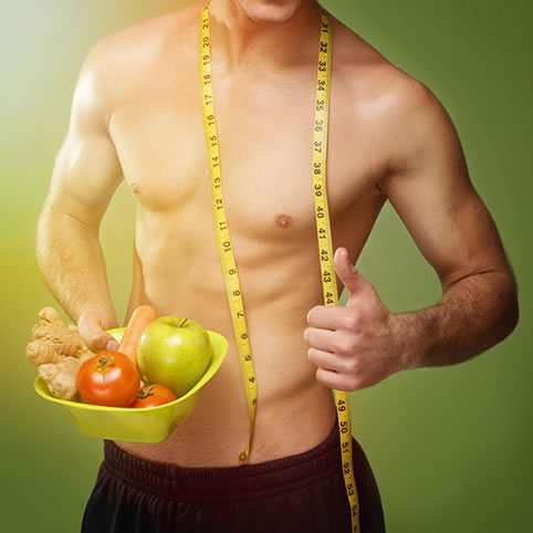 Male body toned and thriving from enough protein on plant-based foods